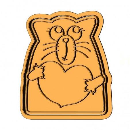 Кот с сердцем форма для пряника