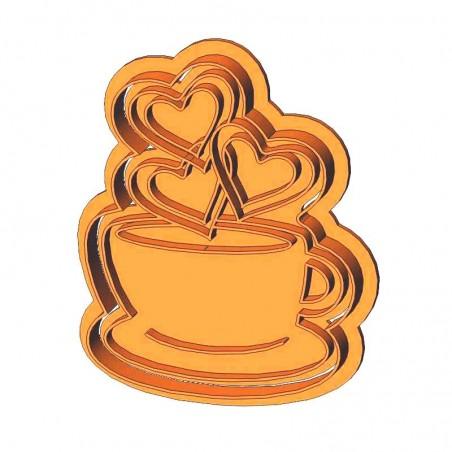 Філіжанка кави з сердечками форма для пряника